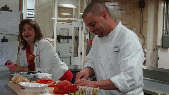 Fairmont Chateau Laurier Executive Chef Louis Simard prepares the Basil Infused Watermelon Appetizers