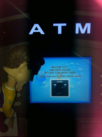 bobble head at an ATM