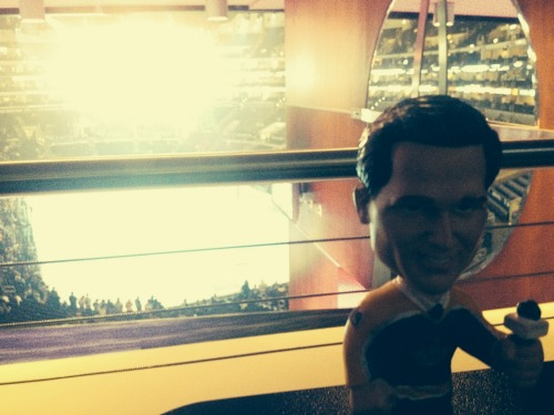 bobble head at a hockey game