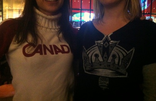 Canada sweater and LA Kings shirt